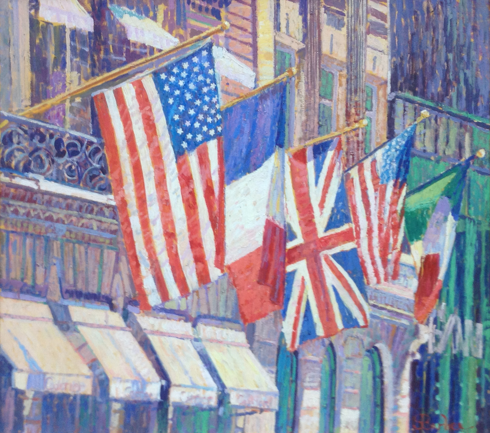 Fifth Ave Flags |  36 x 40  |   Oil on canvas