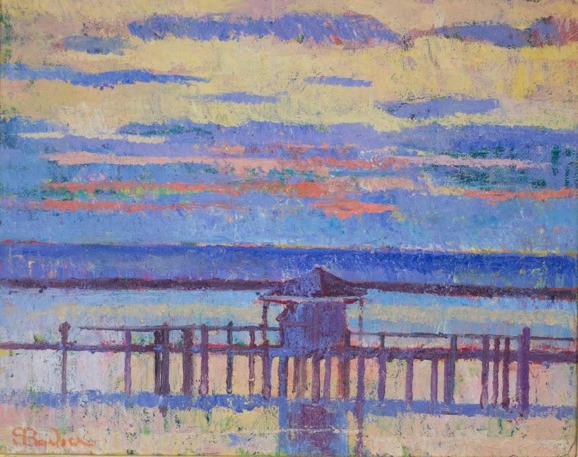 Hyannisport dock at sunset  |   16 x 20  | Oil on canvas