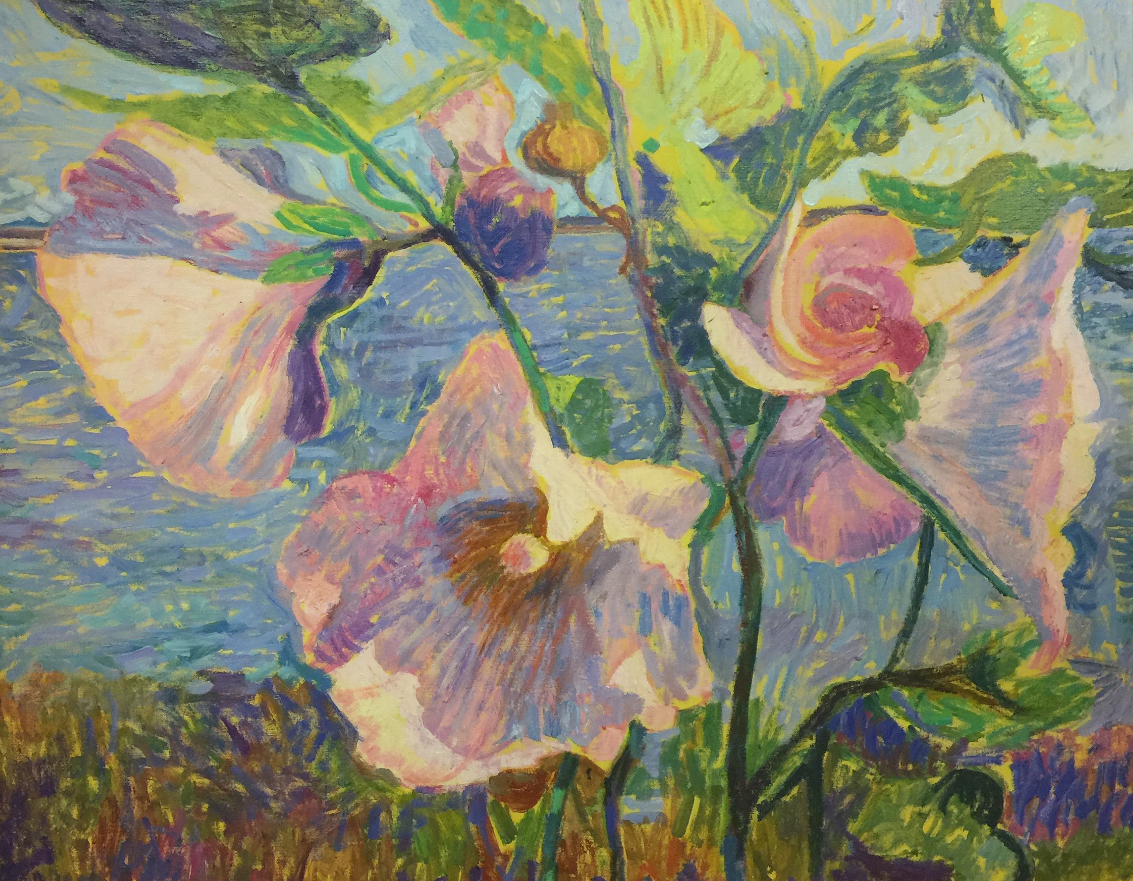 Hollyhock  | 30 x 36  | Oil on canvas