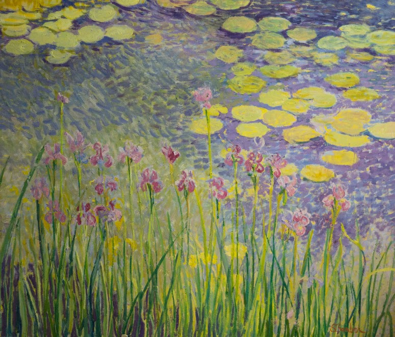 Iris and Water lilies |  48 x 56  |  Oil on canvas