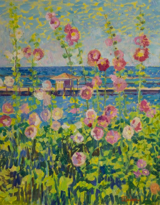 Pink Hollyhocks by the Sea  | 24 x 30  | Oil on canvas