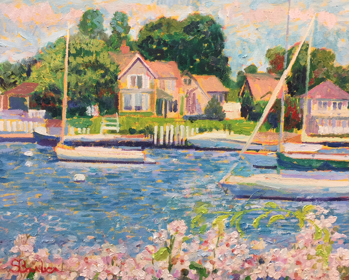Sailboats in Falmouth Harbor |  16 x 20  | Oil on canvas