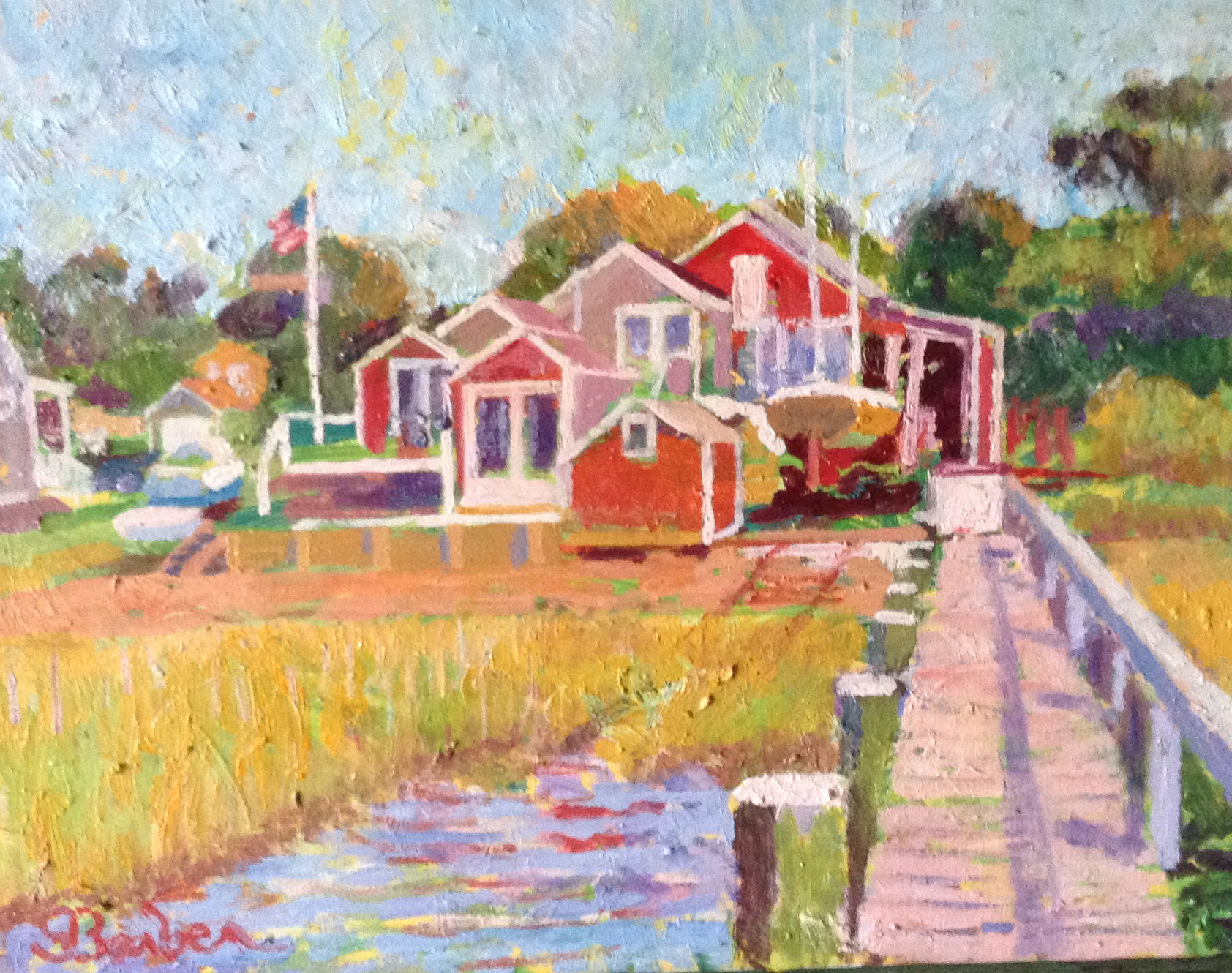Stage Harbor Boatyard  | 11 x 14 |  Oil on canvas
